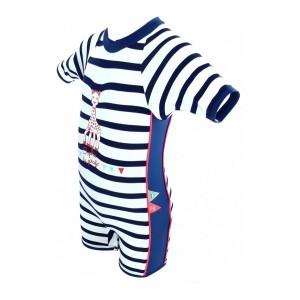 Combinaison / maillot de bain anti-UV à rayure bleues