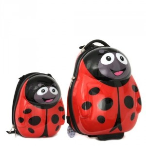 Ensemble valise à roulette et sac à dos Coccinelle de Cuties and Pals