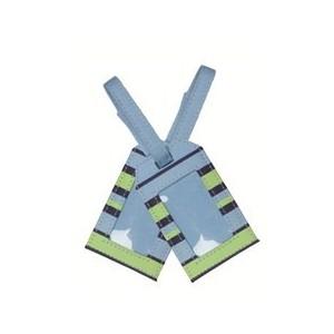 Porte étiquette de voyage bleu rayure pour enfant