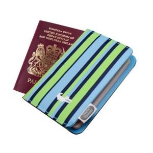 Protège passeport bleu rayure pour enfant