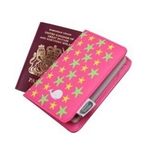 Protège passeport pour enfant rose étoile