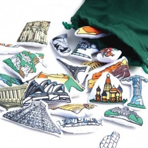 Monuments pour carte du monde en tissu Oskar et Ellen