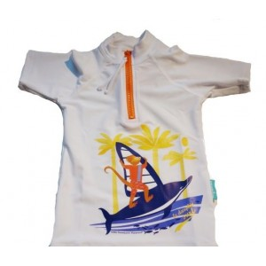 Tee-shirt anti UV / Dauphin surf Blanc Mayoparasol