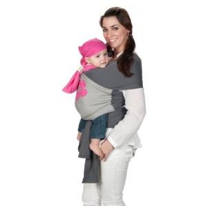 Echarpe de portage coton gris fleur rose de ByKay