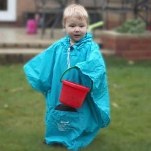 Poncho de pluie pour enfant bleu