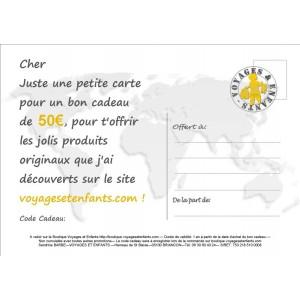 Bon cadeau 50 € Voyages et Enfants