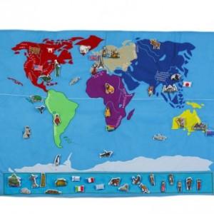 Carte du monde en tissu Oskar et Ellen pour découvrir la géographie