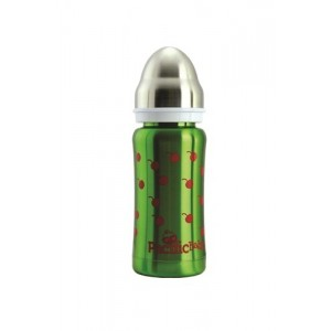 Biberon isotherme 3 en 1 en inox 200ml vert cerise