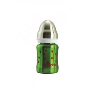Biberon isotherme 3 en 1 en inox 120ml vert cerise
