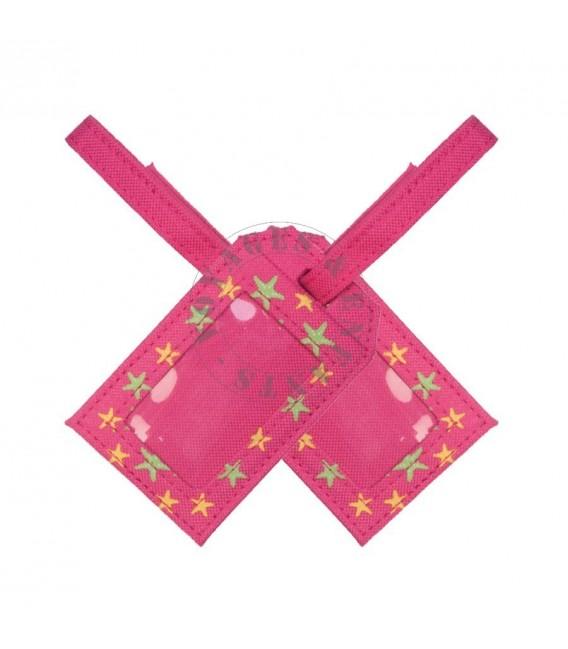 Porte étiquette de voyage rose étoile pour enfant