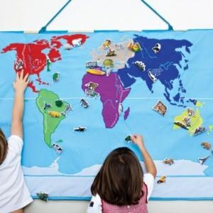 Carte du monde en tissu Oskar et Ellen