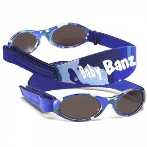 Lunette soleil bébé avec bandeau pour 0-2 ans bleu camo de Baby Banz