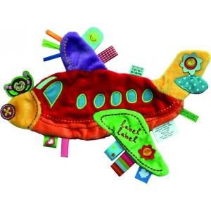 Doudou étiquette Holiday plane rouge LabelLabel Voyages et enfants