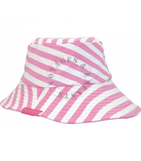 Chapeau rayure rose anti UV Emma Transat