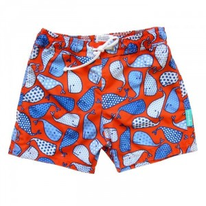 Short de bain anti UV / rouge Baleines