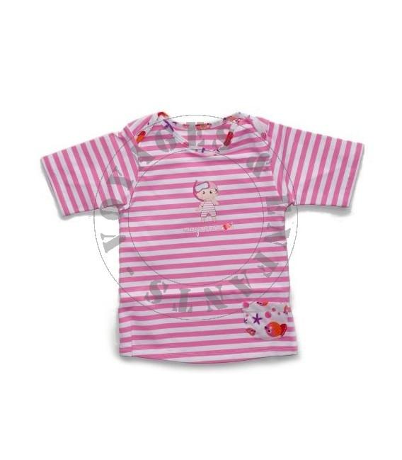 Tee-shirt marinière anti UV / rose Emma Transat Mayoparasol