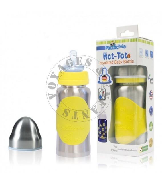 Biberon isotherme évolutif en inox 200ml jaune