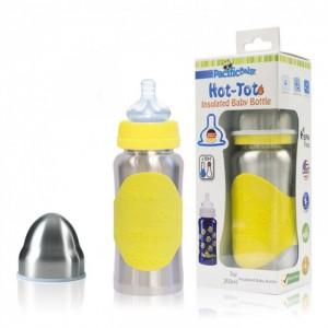 Biberon isotherme évolutif en inox 200ml jaune Pacific Baby