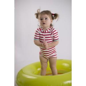 Combinaison / maillot de bain anti-UV à rayures rouge