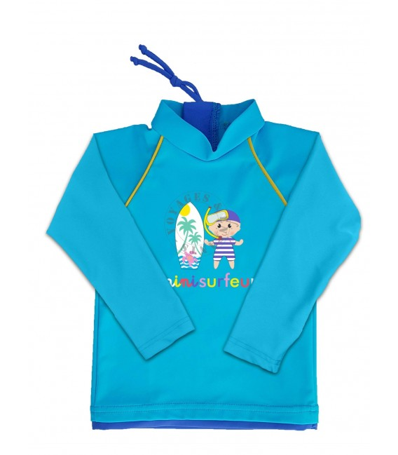 T-shirt anti UV manche Longue bleu