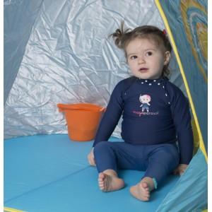 T-shirt bébé anti-UV manche Longue bleu